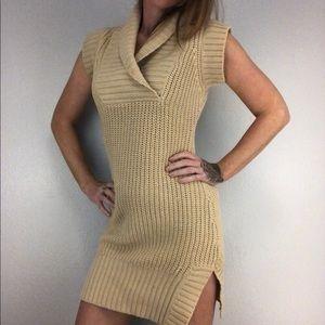 Sexy Cream Mini Knit Sweater Dress Medium